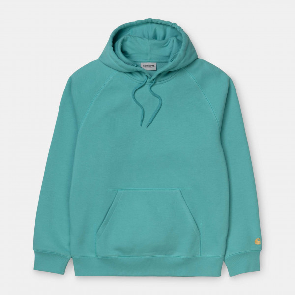 CARHARTT HOODED CHASE SWEAT FROSTED TURQUOISE/GOLD I026384