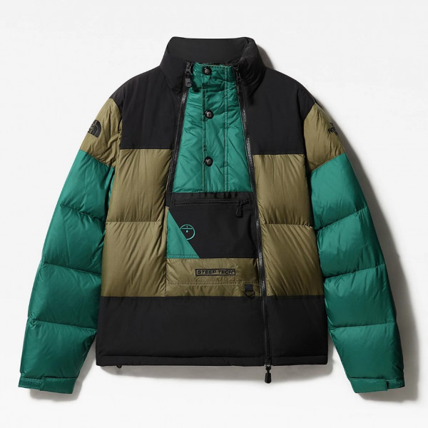THE NORTH FACE STEEP TECH DOWN JACKET BRUNT OLIVE GREEN/BLACK NF0A4QYTSH2