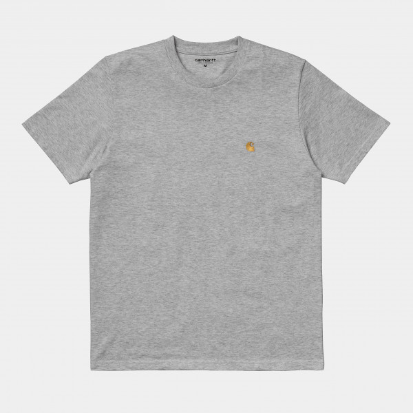 CARHARTT S/S CHASE T-SHIRT GREY HEATHER/GOLD I026391