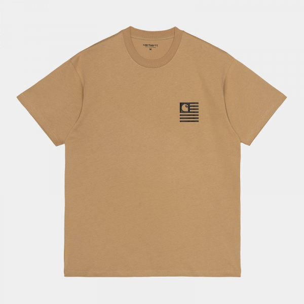 CARHARTT S/S FADE STATE T-SHIRT DUSTY BROWN/BLACK I029607