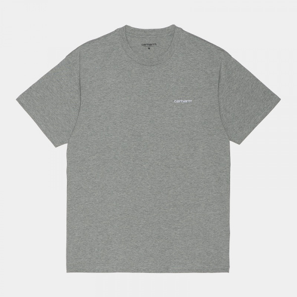 CARHARTT S/S SCRIPT EMBROIDERY T-SHIRT GREY HEATHER/WHITE I025778