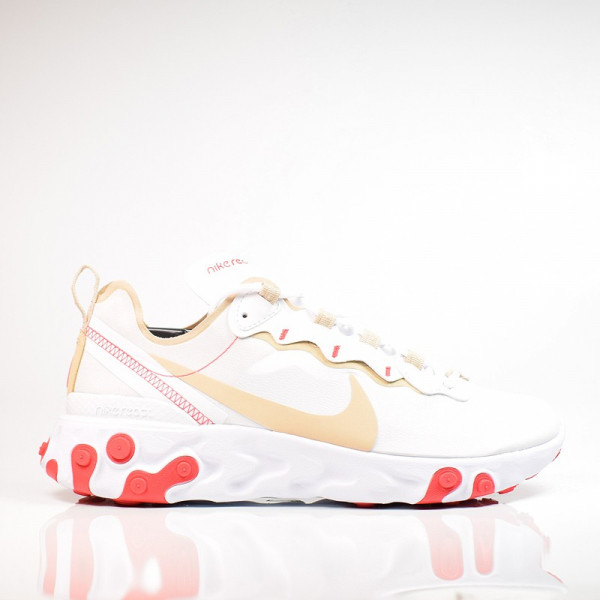 W NIKE REACT ELEMENT 55 WHITE/DESERT BQ2728-101