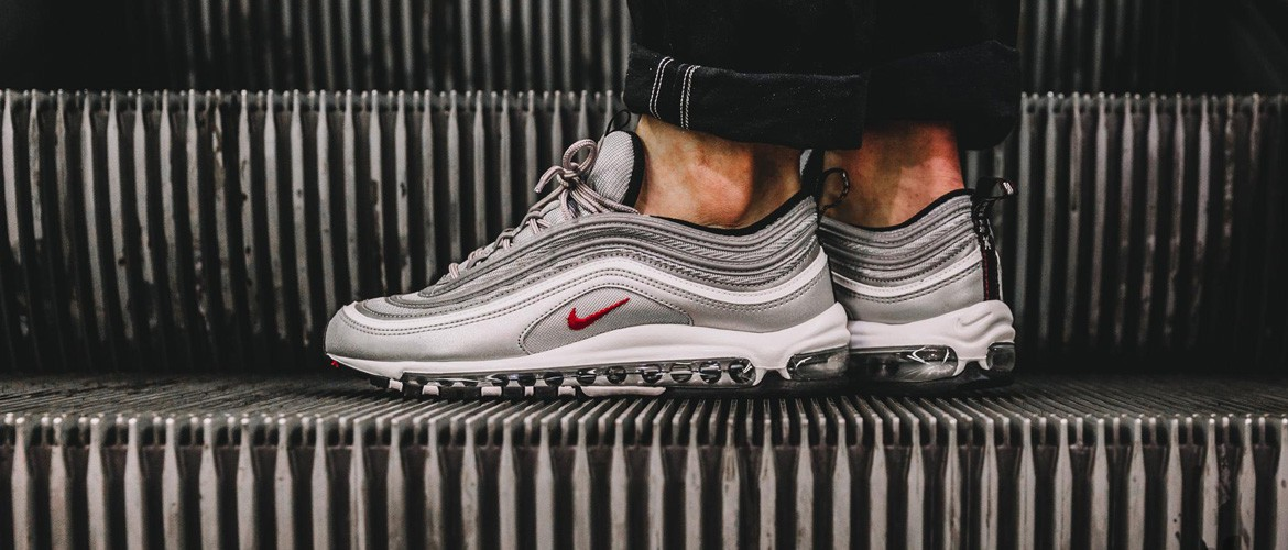 NIKE AIR MAX 97 OG QS METALLIC SILVER VARSITY RED